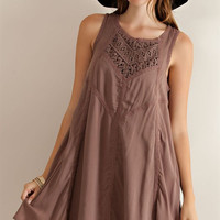 Crochet Lace Bib Flare Dress - Mocha