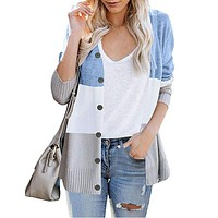 Button Up Colorblock Knit Cardigan