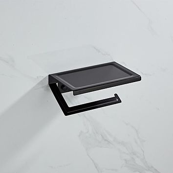 Bathroom Hardware Set BLACK Paper Mobile Phone Holder Space Aluminum Roll Holder with Shelf Toilet Paper Box Wall Mount