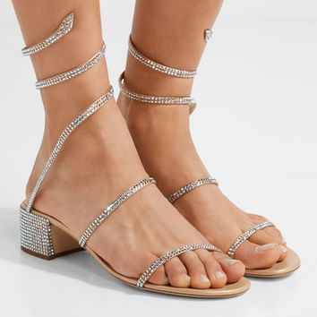 René Caovilla - Crystal-embellished satin and leather sandals