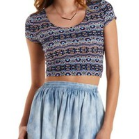 Blue Combo Printed Caged Back Cropped Tee by Charlotte Russe