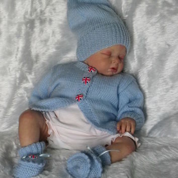 Baby cardigan hat booties - patriotic - Royal Baby - hand knitted