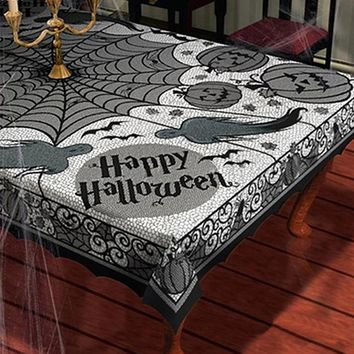 Halloween Decoration Horror Spider Web Pumpkin Tablecloth Props Black Lace Spiderweb Scarf table Cover Party Accessories favors