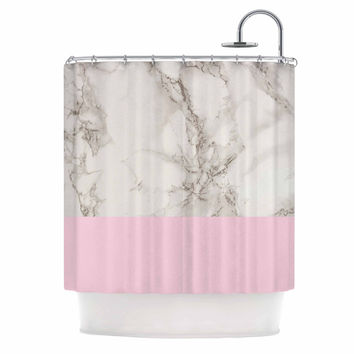 "Suzanne Carter ""Marble And Pink Block"" Modern Contemporary Shower Curtain"