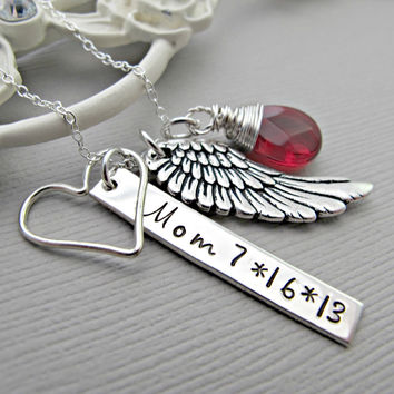 remembrance necklace, Angel Wing Necklace, Remembrance Gift, Memorial Jewelry, Memorial Necklace, Sympathy, Remembrance, Remembrance Jewelry