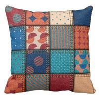 """Patchwork Girly"" THROW PILLOW"