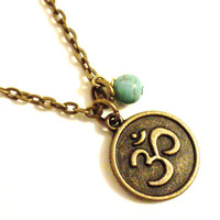 Om Necklace Turquoise Yoga Jewelry Namaste Yogi Lover Bohemian Blue Etsy Jewelry Namaste Christmas Stocking Stuffer Gift For Her Under 30
