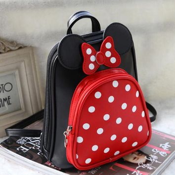 2016 new style children backpacks girls cartoon minnie dot Backpack kids lovely princess schoolbags in stock
