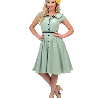 Sage Button Up Meadow Swing Dress