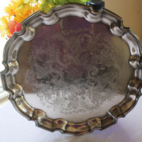 1970's Vintage Silverplate Chippendale Style Serving Tray,Silver Serving,Tea Tray,Silverplate