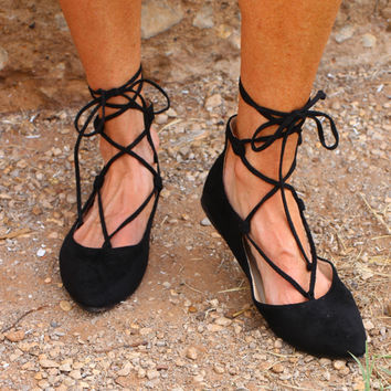 Ready For The Chase Lace Up Flats ~ Black