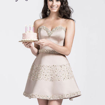 Liyuke CT155 Sweetheart Beading Crystals Sash A-Line Cocktail Dress Sleeveless Off The Shoulder Prom Dress For Cocktail Party