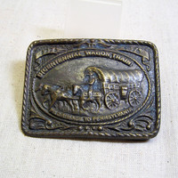 Western Brass Belt Buckle, Bicentennial Wagon Train Commemorative Buckle