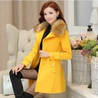 Winter Asian Wool Coat with Fur Collar YRB0588