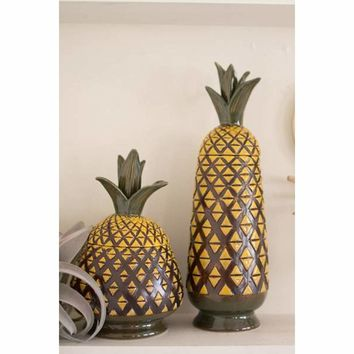 Set Of 2 Ceramic Pineapple Canisters