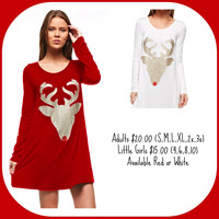 Rudolph Long Sleeve Tunic - Girl's