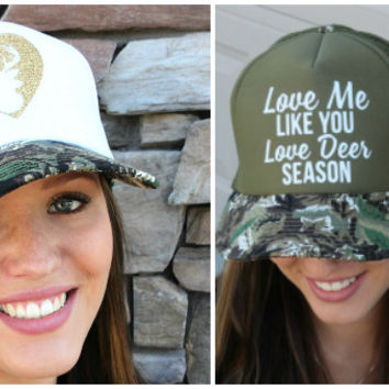 Camo Deer & Heart Trucker Hat | Love Me Like You Love Deer Season Trucker Hat