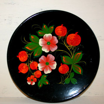 Bohemian Home Decor Khokhloma Toleware Painted Wood Plate Black Floral Lacquered Wood Tray Round Wall Art Russian Folk Art Made in the USSR