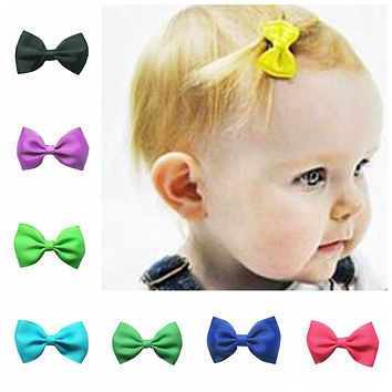 2017 Newborn child headbands flower mini satin ribbon bow with clips hair barrette clips kids accessories cute headwrap 2.5inch