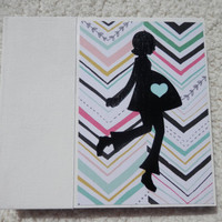 6x6 Chipboard Pregnancy Scrapbook Photo Album in Aqua, Black, Pink