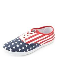 FLAG PRINT CANVAS SNEAKERS