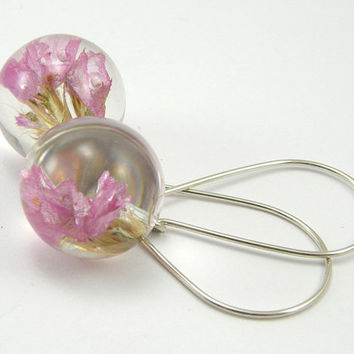 Pink Feminine Earrings, Resin Earrings with Pink Flowers and Sterling Silver, Bridesmaid Earrings