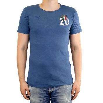 puma figc italia azzurri graphic fan tee athletic t shirt mens  number 1