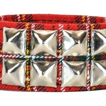 2-Row Silver Pyramid Stud Quality Black & Red Plaid Wristband Bracelet