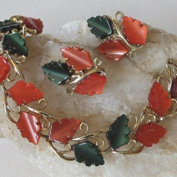 Demi Parure Bracelet and Clip Earrings, Vintage 1950's Orange & Green Leaves in Moonglow Thermoset / Lucite