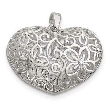 925 Sterling Silver Flower Filigree Design Puffed Heart Shaped Pendant