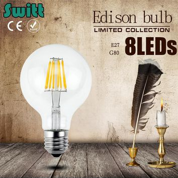 LED Bulb E27 E14 Filament Light Glass Bulb G80 220V 240V 8W 12W 16W Edison Lamp Lamp Antique Retro Vintage Led
