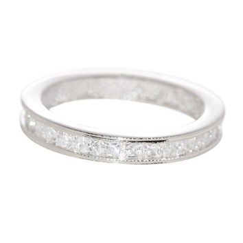 Sterling Silver Eternity Womens Ring Cubic Zirconia 3mm wide Clear CZ Rhodium