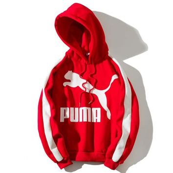 PUMA Fashion New Bust Letter Horse Print Women Men Thick Keep Warm Sports Leisure Hooded Long Sleeve Top Sweater Red