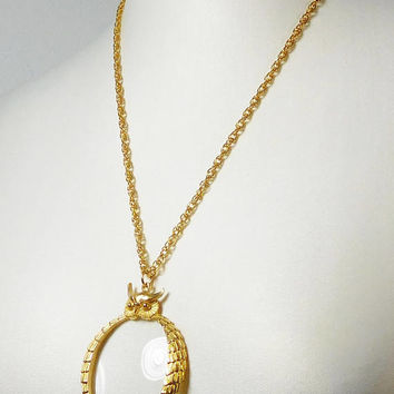 Magnifying Glass Pendant Long Chain Necklace, Gold Tone Chain, Large Owl Pendant, Chain Necklace, Vintage Steampunk, Costume Jewelry