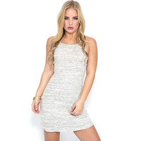 Spot On Ribbed Dress In Grey
