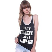 Jc Fits T23318 Junior's Hate Mondays Love Friday Tank Top