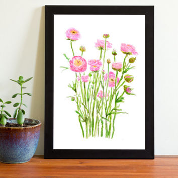 Vintage Botanical Print Watercolor Print pink peonies bunches floral art wall decor home decor wall art digital  watercolor art ranunculus