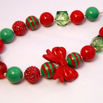 Christmas Girls Boutique Necklace Red Bow Chunky Beaded Necklace infant and baby necklace Red and Green