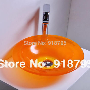 Round Bathroom Resin Counter Top Sink Vessel Cloakroom Vanity Above Counter Colourful Wash Basin Bowl RS38282