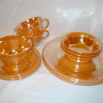 Vintage 1950s FIRE KING Anchor Hocking Orange / Peach Lustre LAUREL Leaf Set of 3 Cups, 3 Saucers, 3 Dessert Fruit Bowls, 3 Dinner Plates