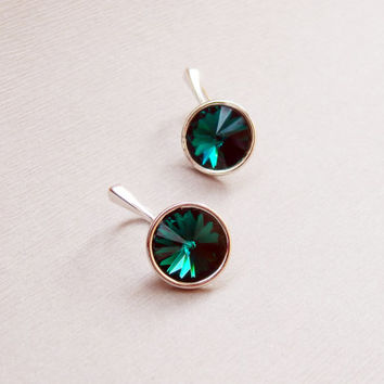Sterling silver 925 Swarovski crystal rivoli Emerald dark deep green colour dangle leverback earrings