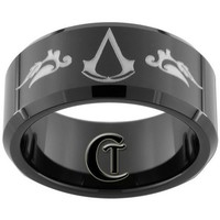 10mm Beveled Black Tungsten Assassin's Creed Laser Design Sizes 5-15