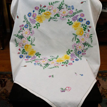 Shabby Chic Tablecloth, Embroidered Irish Linen, Multi Color Flowers, Cottage Chic, Vintage Tablecloth