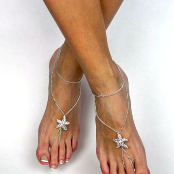 Starfish Barefoot Sandals Beach Wedding Sandals Rhinestone Starfish Rhinestone Sandals Foot Jewelry Bridal Sandals Starfish Anklet