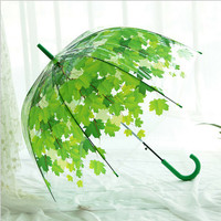 woman umbrella 2016 Creative fresh PVC Transparent Mushroom Green Leaves arch Umbrella /child long umbrella/Rain Umbrella