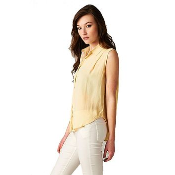 Sleeveless High Low Button Down Blouse (Canary Yellow)