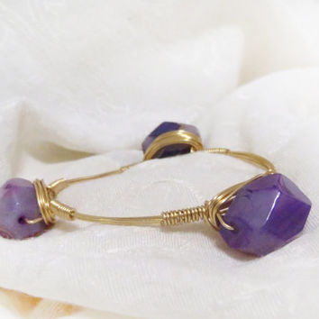 Purple Agate Gemstone Wire Wrapped Bangle - Faceted Semi Precious Gem Stone on gold tone wire