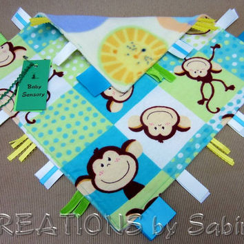 Baby Sensory Tag Blanket Toy, Lovie, Sensory Blankie, Monkeys, animals, wildlife, turquoise, green, yellow READY TO SHIP 92