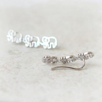 Ear Climber Stud Earrings // THE ELEPHANT