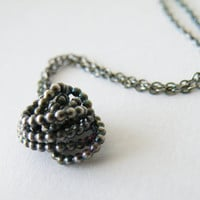 Bundle Pendant Necklace Oxidized Sterling Silver Abstract Pendant Dotted Pendant by SteamyLab
